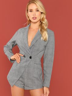 da0bc2725c8a Double Breasted Fitted Plaid Blazer Romper Fitted Breasted Double Plaid  Blazer