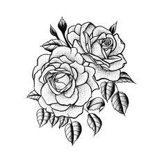 Doppia rosa tatuaggio temporaneo Set di 2 di Tattify su Etsy