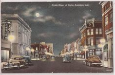 "Anniston, Alabama Linen Postcard ""Noble Street at Night"" Downtown 1945 Cancel"