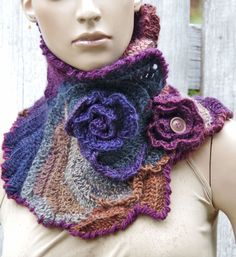 Crochet Scarf Capelet Roses Green Purple pink unique Neck Warmer Freeform…