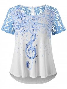 42afae5fe7a Plus Size Lace Musical Notes T-shirt - WHITE - 5X Tunic Shirt, Tunic