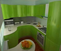 Green curve kitchen designs