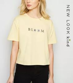 Shop Pale Yellow Floral Bloom Boxy Slogan T-Shirt. Discover the latest trends at New Look. White Tops, Black Tops, White Cosmo, White Flamingo, Rock T Shirts, New Look, Organic Cotton, Latest Trends, Fitness Models