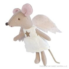 Hand made, collectible angel mouse doll from Danish toy maker Maileg.