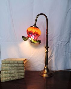 Antique French table lamp with hand blown and hand by Frenchidyll