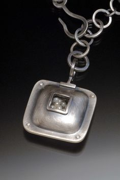 Sarah C Chapman - Square Pearl Pendant in oxidized sterling silver with fresh water pearls.