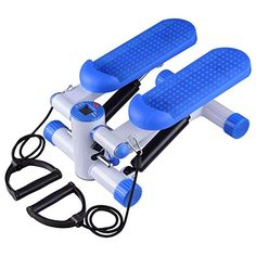 Exercise Mini-Stair Air Twister Stepper Fitness Machine Arms Legs Balance Control w/Resistance Bands Blue & lbs Capacity for Home Indoor Gym Muscle Strength Healthy Cardio Equipment, Training Equipment, Fitness Equipment, Mini Stepper, Stair Climber Workout, Indoor Gym, Step Workout, Aerobics Workout, Best Cardio