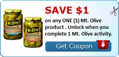 Save $1.00 on any ONE (1) Mt. Olive product . Unlock when you complete 1 Mt. Olive activity. : #CouponAlert, #Coupons, #Printablecoupons Check it out here!!
