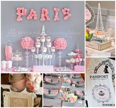 Parisian Baby Shower Inspiration Board - wonderful ideas on the blog for this beautiful shower idea! #babyshower #parisian