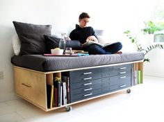 This Clever DIY Storage Daybed, From Fugitive Glue Via Public Displays Of  Affection, Incorporates