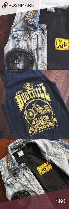 2PP VINTAGE // 1990 | Black Daytona Bike Week tank Black Boothill Saloon Graphic tank top from Daytona Beach Bike Week 1990. Excellent condition — very minor fade. Graphics still very yellow & bright. Fits great, I love this tank! Size small.  —— #2prettypistols #vintage #vtg #bikeweek #daytonabeach #1990 #motorcycle #biker #boothill #saloon Vintage Shirts Tank Tops