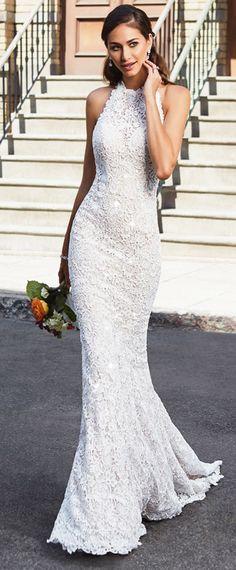 Fabulous Lace Halter Neckline Open Back Natural Waistline Mermaid Wedding Dress