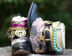 black with pink lace glam reworked upcycled boho cowboy boots by TheLookFactory on Etsy