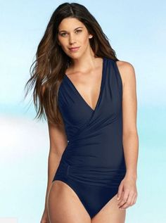 VINCE CAMUTO V NECK PLUNGE WRAP ONE PIECE SWIMSUIT NAVY Blue $108 NWT SMALL 8 #VinceCamuto #OnePiece