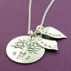Personalized Necklace  Family of Four Oak by EclecticWendyDesigns, $75.00  I WANT THIS FOR MOTHERS DAY!