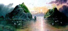 (North Korea) Dok Island in the East sea by Lee Cheon-il (1959-  ). Korean brush watercolor on paper. 김천일.