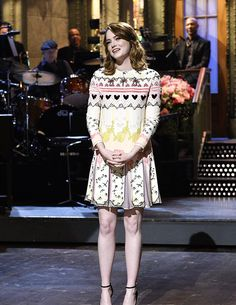 Emma Stone hosts Saturday Night Live on December 3, 2016.