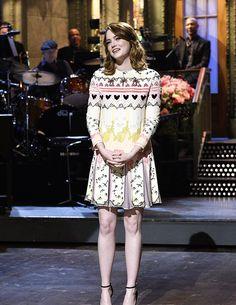 Emma Stone hosts Saturday Night Live on December 3, 2016.
