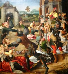 Massacre of the Innocents was painted by Jan de Beer in 1515 using oil on panel. The artist of this panel is clearly linked to the Antwerp Mannerists who were active in the early 16th century, and may have worked in the circle of Jan de Beer. These painters worked in the Flemish port city for an int
