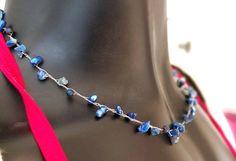 Crochet Necklace Blue Chips Boho Chic Necklace Blue Necklace