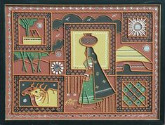 Mud Painting Of Kutch Art And Illustration, Madhubani Painting, Madhubani Art, Worli Painting, Clay Wall Art, Clay Art Projects, Krishna, Indian Folk Art, Indian Art Paintings