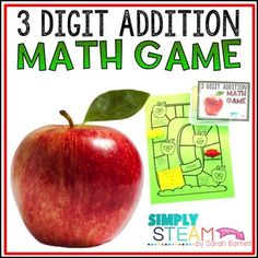 Three Digit Addition Game | Second Grade Math... by Simply STEAM - by Sarah Barnett | Teachers Pay Teachers Math Addition Games, Math Games, Second Grade Math, Math Skills, Math Centers, Fun Learning, School, Schools