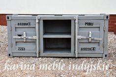 "meble industrialne - loftowa metalowa szafka rtv ""CONTAINER"" Karina Meble Indyjskie"