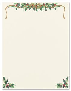 Holly Border Foil Holiday Christmas Stationery Christmas Stationery Free Christmas Borders Christmas Stationery Printable