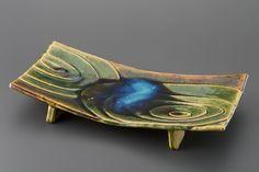 織部刻文俎板皿 Chopping board plate with engraved, Oribe type 2013