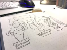Kaktus malen in wenigen Schritten und Formen - Bullet Journal Wochenplan Übersicht - Mamaskind.de Layout, Lettering, Bullet Journal Notebook, Bullet Journal Ideas, Cactus, Calendar, Homemade, Drawing S, Page Layout
