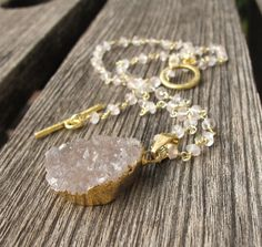 Druzy Necklace featuring Rose Quartz Rosary makes a stunning necklace by Belesas