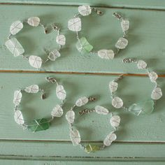 Beach Shack Project - surgical stainless steel wire wrapped sea glass bracelets. £16
