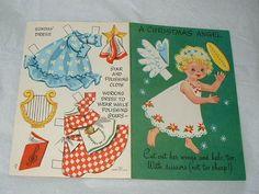 Vintage Greeting Card Paper Dolls Christmas Angel Uncut | eBay