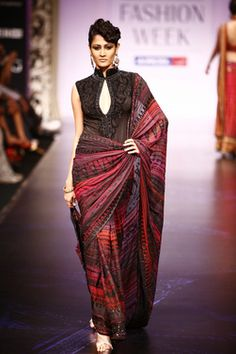 Satya Paul, sleek, sexy, red and black sari with abstract design