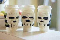 Cup Cozy Striped Cozy with Ivory Skull by poisonivycreations