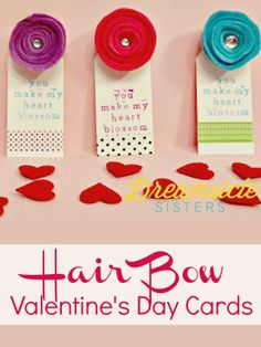 Hair Bow Valentine's Day cards for girls.
