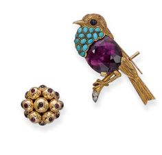 AN AMETHYST AND TURQUOISE BIRD BROOCH, BY CARTIER AND A RETRO GOLD AND RUBY RING The textured gold bird perching on a twig, the body set with a cushion-shaped amethyst to the cabochon turquoise neck and sapphire eye, 6.0 cm long, with French assay marks for gold and platinum, in fitted red leather Cartier case; the ring designed as a cluster of gold boules each set with a circular-cut ruby