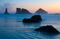 Photograph of sunset at Bandon Beach along the Oregon Coast.