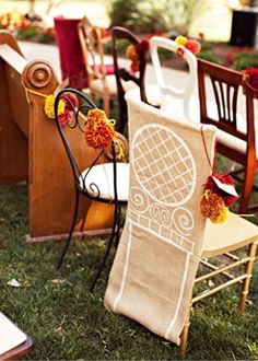 We're crazy about this trend! A mixed assortment of chairs at an outdoor wedding lends a romantic, Anthropologie-esque touch. At @Four Seasons Hotel Austin.