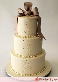 Tri-Looped Bow w/ Ivory, Champagne, & Mauve Piped Vertical Pearls