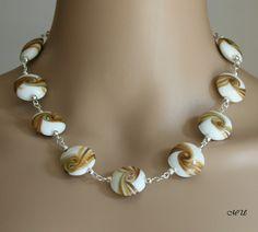 Halskette mit Lampworkperlen von DreamCollier auf Etsy