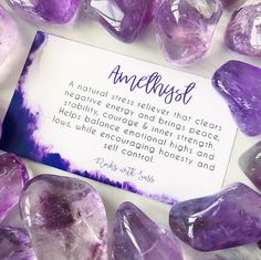 AMETHYST MEANING  KEY WORDS: PROTECTION, MEDITATION, CALMING      Amethyst healing properties include stress relief, treating insomnia and relieving the pain of headaches. This crystal attracts positive energy while ridding your body of any negative emotions—feelings of stress, anxiety, fear, depression and more.  AMETHYST AFFIRMATION: I am calm, peaceful and relaxed in my mind, body and soul.