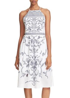 parker alana embroidered cotton dress