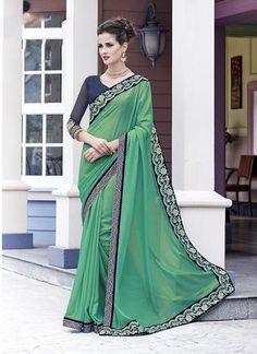 Green Shimmer Georgette Designer Saree ,Indian Dresses