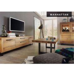 Meuble télé en chêne massif recyclé et métal 2 portes 2 tiroirs MANHATTAN - Maison Facile : www.maison-facile.com