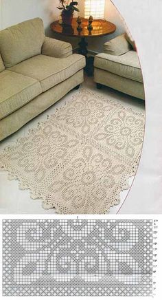 I really like this crochet rug! Crochet Doily Rug, Crochet Rug Patterns, Crochet Carpet, Crochet Bedspread, Crochet Borders, Crochet Tablecloth, Crochet Home, Thread Crochet, Filet Crochet Charts