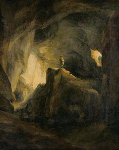 Painter: Caspar Wolf Title: The inside of the bear cave at Welschenrohr Date: 1778 Caspar Wolf, Eugene Ionesco, Caspar David Friedrich, Dark Places, Romanticism, Poster, Landscape, Nature, Paintings