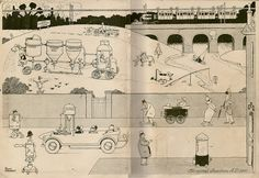Inside front cover illustration of The Wonder Book of Inventions by Heath Robinson Rube Goldberg Machine, Heath Robinson, Wonder Book, Book Illustration, Illustrations, Retro Futurism, Golden Age, First World, Inventions