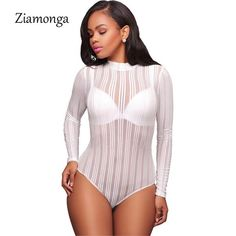Sexy Bodysuit Striped Mesh Patchwork See Through Bodysuit Long Sleeve 6ce333912ed