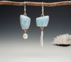 Larimar and pearl asymmetrical earrings by Betsy Bensen